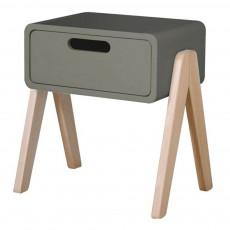 Table de chevet Petit Robot pieds bois naturel Vert de gris