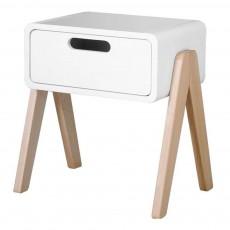 Table de chevet Petit Robot pieds bois naturel Blanc