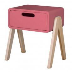 Table de chevet Petit Robot pieds bois naturel Rose bonbon