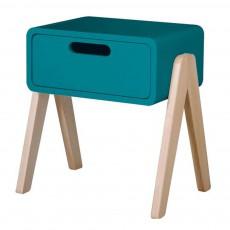 Table de chevet Petit Robot pieds bois naturel Bleu canard