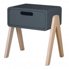 Table de chevet Petit Robot pieds bois naturel Charbon