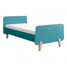 Lit MM pieds bois naturel Bleu turquoise