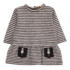 Robe Rayée Poches Chat Kat Gris