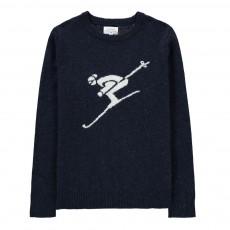 Pull Shetland Skieur Bleu marine