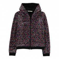 Sweat Capuche Zippé Sequins Raffle Multicolore