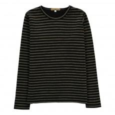 T-Shirt Epais Double Jersey Rayé Toure Noir
