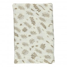 Grand lange motif feuilles 120x120 cm Ecru
