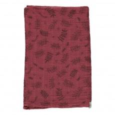 Grand lange motif feuilles 120x120 cm Rouge brique