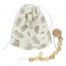 Pochette à tétine et attache-tétine motif feuilles Ecru