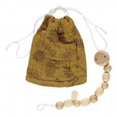 Pochette à tétine et attache-tétine motif feuilles Ocre