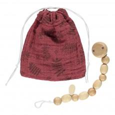 Pochette à tétine et attache-tétine motif feuilles Rouge brique