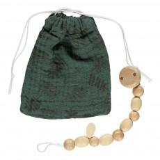 Pochette à tétine et attache-tétine motif feuilles Vert sapin