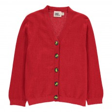 Cardigan Laine Boutons Lapin George Rouge