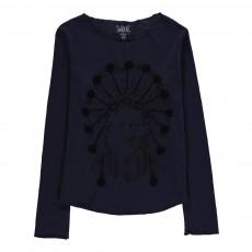 T-Shirt Indien Détails Brodés Priamin Bleu nuit