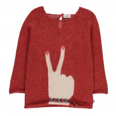 Pull Baby Alpaga Peace Rouge brique