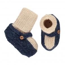 Chaussons Chaussettes Baby Alpaga Bleu indigo
