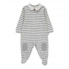 Pyjama Rayé Col Chemise Gris