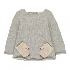 Pull Baby Alpaga Poches Pattes Monstre Gris clair