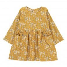 Robe Poches Fleurie Jaune moutarde