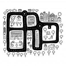 Sticker plan de ville Noir