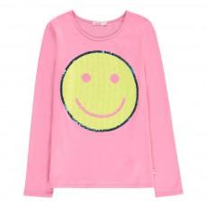 T-shirt Smiley Sequin Rose bonbon
