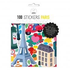 Planche de stickers muraux Paris - 100 stickers Multicolore