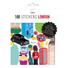 Planche de stickers muraux Londres  - 100 stickers Multicolore