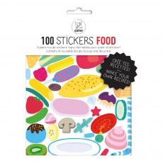 Planche de stickers muraux Food - 100 stickers Multicolore