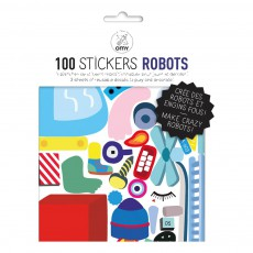 Planche de stickers muraux Robot  - 100 stickers Multicolore