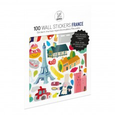 Planche de stickers muraux France  - 100 stickers Multicolore