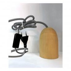 Suspension douille bois avec prise 3 m Naturel