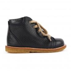 Chaussures Premiers Pas Cuir Fourrées à Lacets Creek Bleu marine