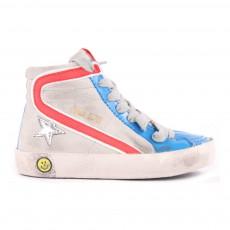 Baskets Suède Tricolores Zippées Slide Gris clair
