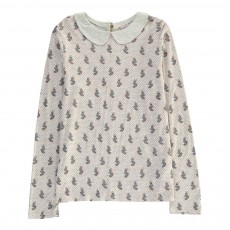 Blouse Col Claudine Animaux Tupety Vieux Rose