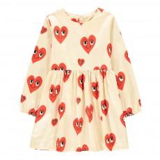 Robe Patineuse Cœurs Coton Bio Ecru