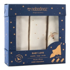 product-Nobodinoz Langes Baby love en coton bio - Set de 3