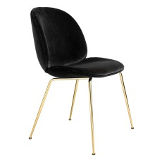 product-Gubi Chaise Beetle rembourrée base Conic, GamFratesi 2013, Laiton/Velours