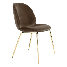 product-Gubi Beetle Padded Chair With Conic Base, GamFratesi, 2013, Brass/Velvet
