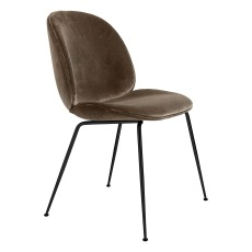 product-Gubi Chaise Beetle rembourrée base Conic, GamFratesi 2013, Noir/Velours