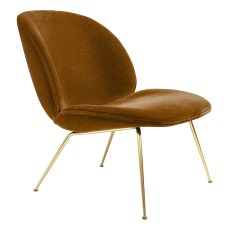 product-Gubi Beetle Padded Lounge Chair With Conic Base, GamFratesi, 2013, Brass/Velvet