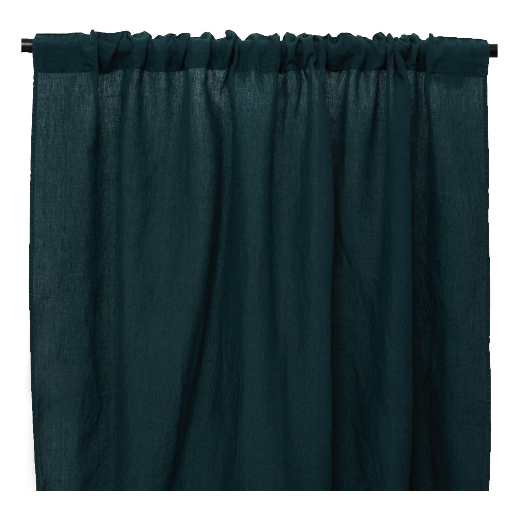 Washed Linen Rod Pocket Or Clip Ring Curtains Bleu Fane