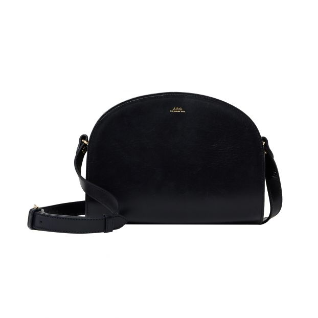 Half Moon Bag In Leather Black by Smallable