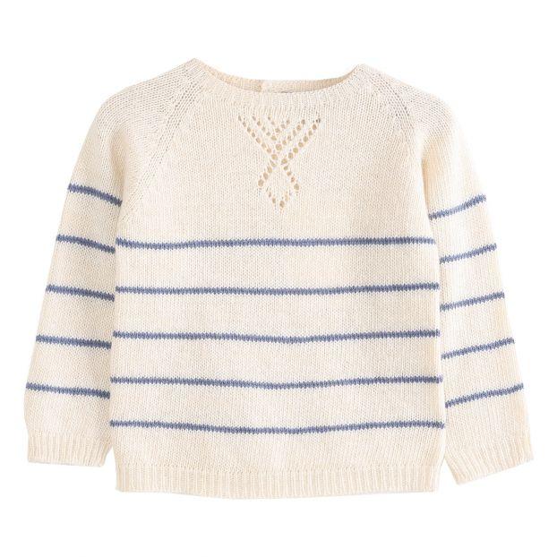 cheap for discount 29f95 af08b Maglione di lana et cachemire a righe Ecru