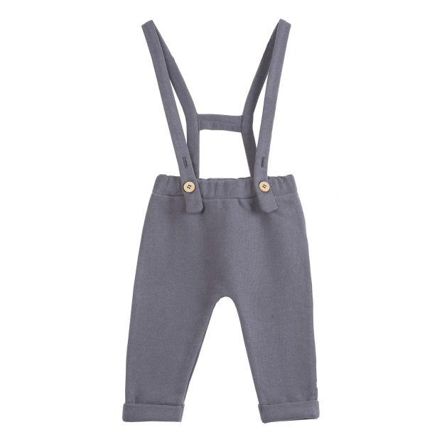 women classic online store Fleece Trousers with Suspenders Charcoal grey