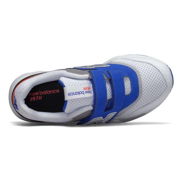 Blauweißschwarze Materialmix Sportschuhe mit 3 Klettverschlüsse
