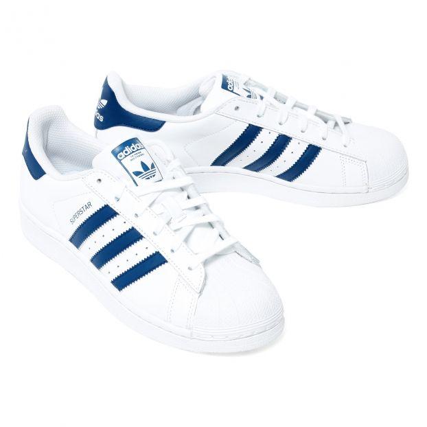 Baskets Lacets Cuir Superstar Bleu Adidas Chaussure Adolescent ,