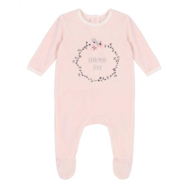 7b9314e533c11 Pyjama Velours Rose pâle Carrement Beau Mode Bébé
