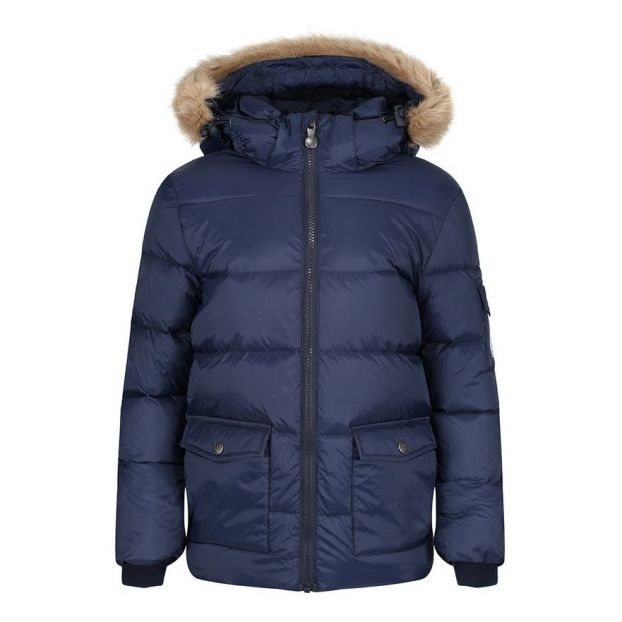 Daunenjacke Authentic Mat aus Kunstpelz Navy