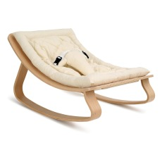 product-Charlie Crane Levo Baby Bouncer - Beech & Ecru Organic Cotton Cushion