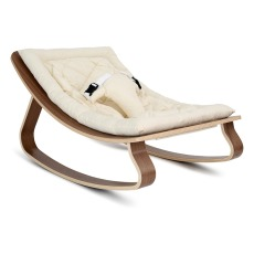 product-Charlie Crane Levo Baby Bouncer - Walnut & Ecru Organic Cotton Cushion